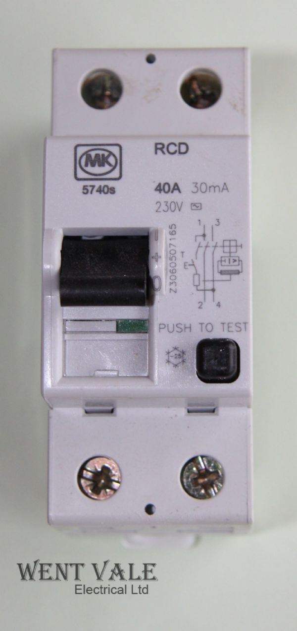 MK Sentry - 5740s - 40a 30mA Double Pole RCD Used
